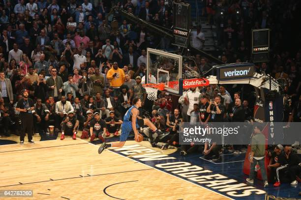 Aaron Gordon of the Orlando Magic competes in the Verizon Slam Dunk Contest during State Farm AllStar Saturday Night as part of the 2017 NBA AllStar...