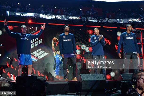 Aaron Gordon of the Orlando Magic Derrick Jones Jr #10 of the Phoenix Suns Glenn Robinson III of the Indiana Pacers and DeAndre Jordan of the LA...