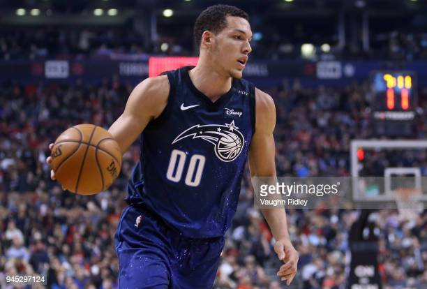 Aaron Gordon of the Orlando Magic dribbles the ball during the first half of an NBA game against the Toronto Raptors at Air Canada Centre on April 8...