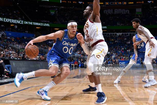 Aaron Gordon of the Orlando Magic drives to the basket against the Cleveland Cavaliers on March 14 2019 at Amway Center in Orlando Florida NOTE TO...