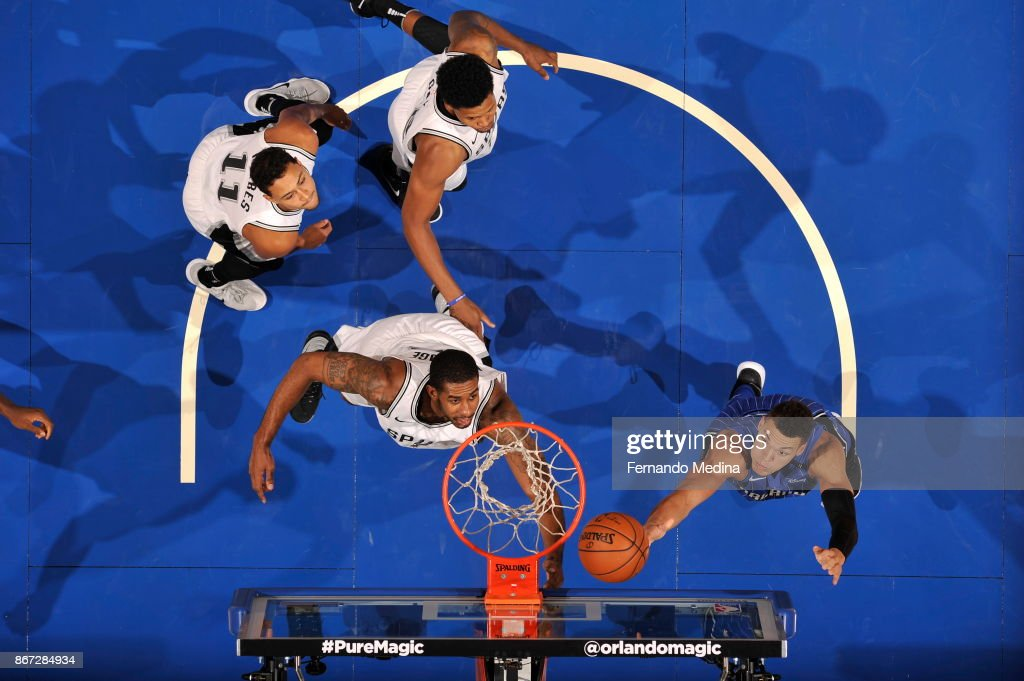Aaron Gordon #00 of the Orlando Magic drives to the basket against the San Antonio Spurs on October 27, 2017 at Amway Center in Orlando, Florida.
