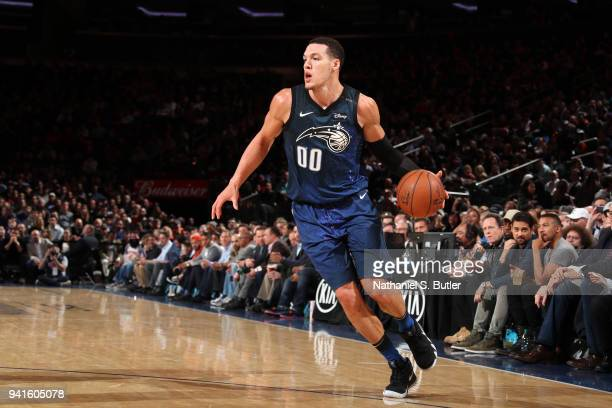 Aaron Gordon of the Orlando Magic drives to the basket against the New York Knicks on April 3 2018 at Madison Square Garden in New York City New York...