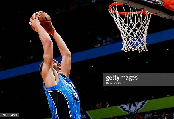 Aaron Gordon of the Orlando Magic dunks against the Atlanta Hawks at Philips Arena on January 18 2016 in Atlanta Georgia NOTE TO USER User expressly...