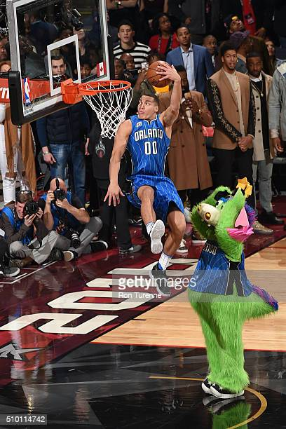 Aaron Gordon of the Orlando Magic dunks during the Verizon Slam Dunk Contest as part of 2016 NBA AllStar Weekend on February 13 2016 at the Air...