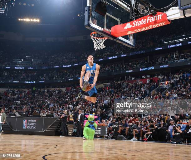 Aaron Gordon of the Orlando Magic dunks during the Verizon Slam Dunk Contest during State Farm AllStar Saturday Night as part of the 2017 NBA AllStar...