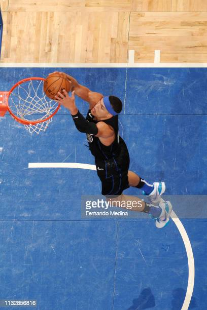 Aaron Gordon of the Orlando Magic dunks the ball against the Philadelphia 76ers on March 25 2019 at Amway Center in Orlando Florida NOTE TO USER User...