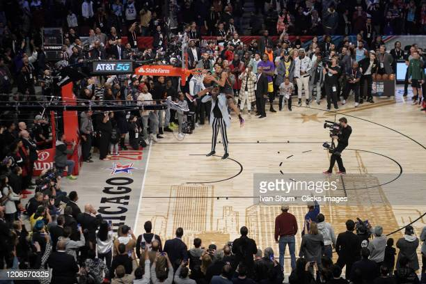 Aaron Gordon of the Orlando Magic dunks the ball during the 2020 NBA AllStar ATT Slam Dunk at United Center on February 15 2020 in Chicago Illinois