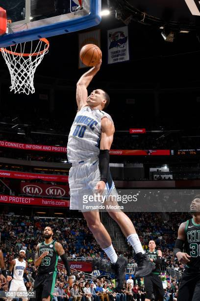 Aaron Gordon of the Orlando Magic dunks the ball during the game against the Boston Celtics on January 12 2019 at Amway Center in Orlando Florida...
