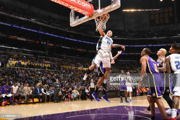 Aaron Gordon of the Orlando Magic dunks the ball during the game against the Los Angeles Lakers on January 15 2020 at STAPLES Center in Los Angeles...