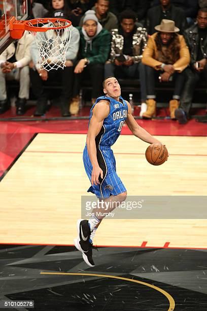 Aaron Gordon of the Orlando Magic dunks the ball during the Verizon Slam Dunk Contest as part of NBA AllStar 2016 on February 13 2016 at Air Canada...