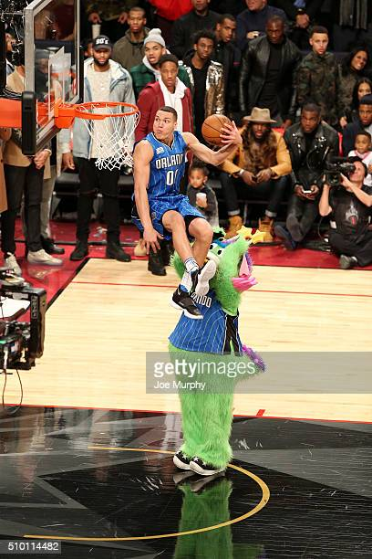 Aaron Gordon of the Orlando Magic dunks the ball during the Verizon Slam Dunk Contest as part of NBA AllStar 2016 on February 13 2016 at Air Canada...