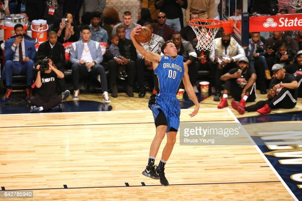 Aaron Gordon of the Orlando Magic dunks the ball during the Verizon Slam Dunk Contest during State Farm AllStar Saturday Night as part of the 2017...
