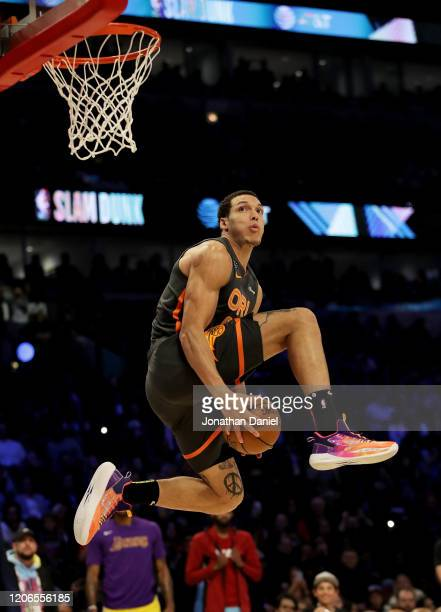 Aaron Gordon of the Orlando Magic dunks the ball in the 2020 NBA AllStar ATT Slam Dunk Contest during State Farm AllStar Saturday Night at the United...