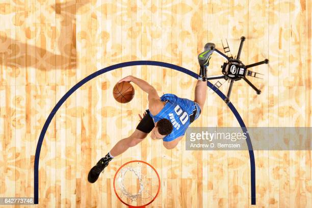 Aaron Gordon of the Orlando Magic dunks the ball with assistance from a drone during the Verizon Slam Dunk Contest during State Farm AllStar Saturday...