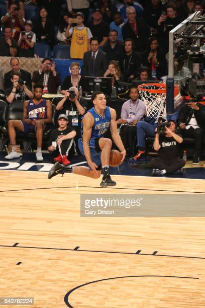 Aaron Gordon of the Orlando Magic dunks the ball with help from the Intel drone during the Verizon Slam Dunk Contest during State Farm AllStar...