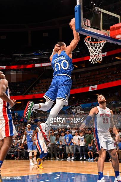 Aaron Gordon of the Orlando Magic dunks the ball with his hand behind head during the game against the Detroit Pistons on November 7 2018 at Amway...