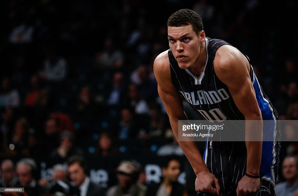 Aaron Gordon of the Orlando Magic during an NBA basketball game against the Brooklyn Nets at the Barclays Center in the Brooklyn borough of New York City on April 15, 2015.