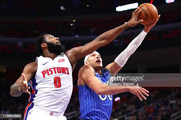 Aaron Gordon of the Orlando Magic gets his shot blocked by Andre Drummond of the Detroit Pistons during the first half at Little Caesars Arena on...