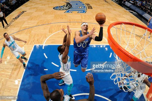 Aaron Gordon of the Orlando Magic goes to the basket against the Charlotte Hornets on February 14 2019 at Amway Center in Orlando Florida NOTE TO...