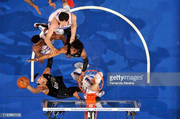 Aaron Gordon of the Orlando Magic handles the ball against the Philadelphia 76ers on March 25 2019 at Amway Center in Orlando Florida NOTE TO USER...
