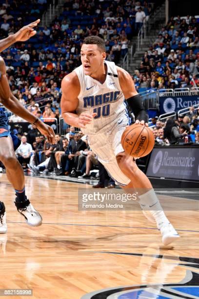 Aaron Gordon of the Orlando Magic handles the ball against the Oklahoma City Thunder on November 29 2017 at Amway Center in Orlando Florida NOTE TO...