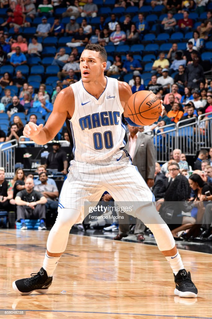 Aaron Gordon #00 of the Orlando Magic handles the ball against the Dallas Mavericks during a preseason game on October 5, 2017 at Amway Center in Orlando, Florida.