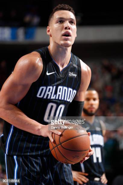 Aaron Gordon of the Orlando Magic handles the ball against the Dallas Mavericks on January 9 2018 at the American Airlines Center in Dallas Texas...