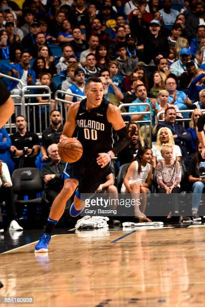 Aaron Gordon of the Orlando Magic handles the ball against the Golden State Warriors on December 1 2017 at Amway Center in Orlando Florida NOTE TO...