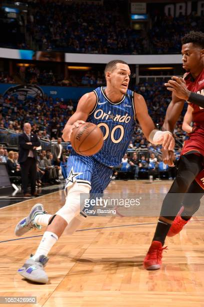 Aaron Gordon of the Orlando Magic handles the ball against the Miami Heat on October 17 2018 at Amway Center in Orlando Florida NOTE TO USER User...