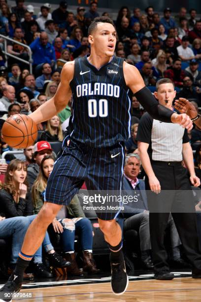 Aaron Gordon of the Orlando Magic handles the ball against the Cleveland Cavaliers on January 6 2018 at Amway Center in Orlando Florida NOTE TO USER...