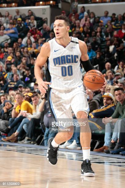 Aaron Gordon of the Orlando Magic handles the ball against the Indiana Pacers on January 27 2018 at Bankers Life Fieldhouse in Indianapolis Indiana...
