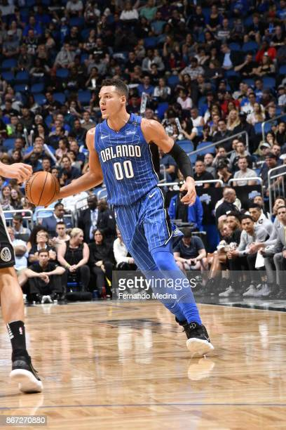 Aaron Gordon of the Orlando Magic handles the ball against the San Antonio Spurs on October 27 2017 at Amway Center in Orlando Florida NOTE TO USER...