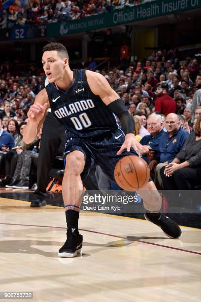 Aaron Gordon of the Orlando Magic handles the ball during the game against the Cleveland Cavaliers on January 18 2018 at Quicken Loans Arena in...