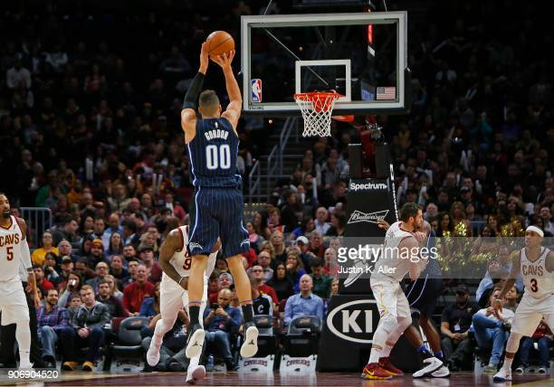 Aaron Gordon of the Orlando Magic pulls up for a three against the Cleveland Cavaliers at Quicken Loans Arena on January 18 2018 in Cleveland Ohio...