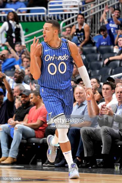 Aaron Gordon of the Orlando Magic reacts to a play during the game against the Miami Heat on October 17 2018 at Amway Center in Orlando Florida NOTE...