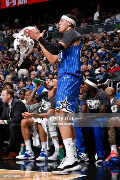 Aaron Gordon of the Orlando Magic reacts to a play during the game against the Charlotte Hornets on February 14 2019 at Amway Center in Orlando...