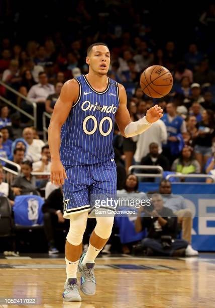 Aaron Gordon of the Orlando Magic sets up the offense during the game against the Miami Heat at Amway Center on October 17 2018 in Orlando Florida...