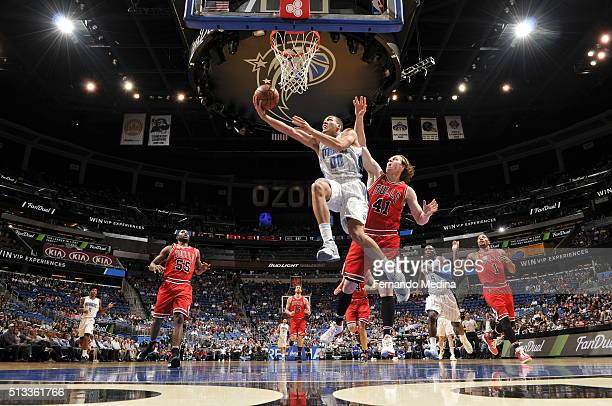Aaron Gordon of the Orlando Magic shoots a layup against the Chicago Bulls on March 2 2016 at Amway Center in Orlando Florida NOTE TO USER User...