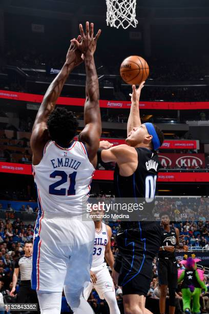 Aaron Gordon of the Orlando Magic shoots the ball against the Philadelphia 76ers on March 25 2019 at Amway Center in Orlando Florida NOTE TO USER...