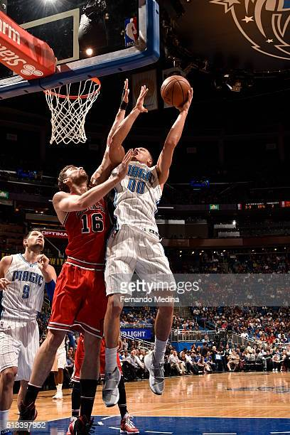 Aaron Gordon of the Orlando Magic shoots the ball against the Chicago Bulls on March 2 2016 at Amway Center in Orlando Florida NOTE TO USER User...