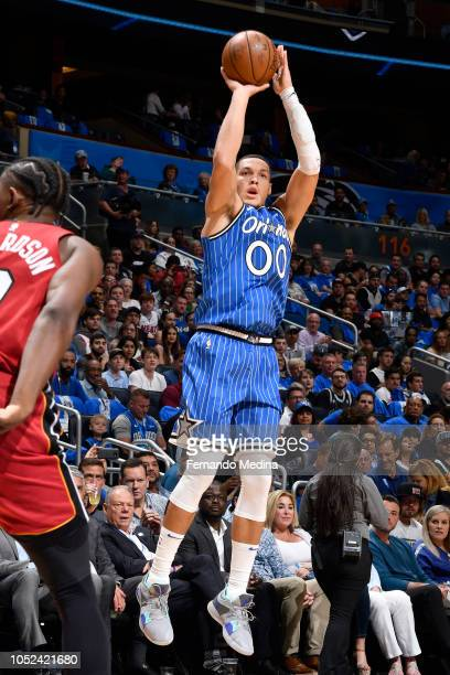 Aaron Gordon of the Orlando Magic shoots the ball against the Miami Heat on October 17 2018 at Amway Center in Orlando Florida NOTE TO USER User...