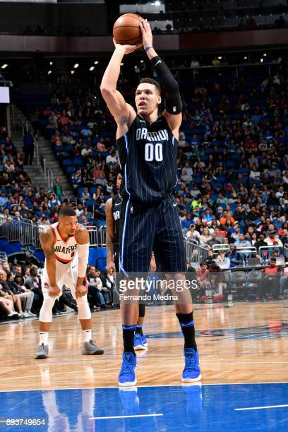 Aaron Gordon of the Orlando Magic shoots the ball against the Portland Trail Blazers on December 15 2017 at Amway Center in Orlando Florida NOTE TO...