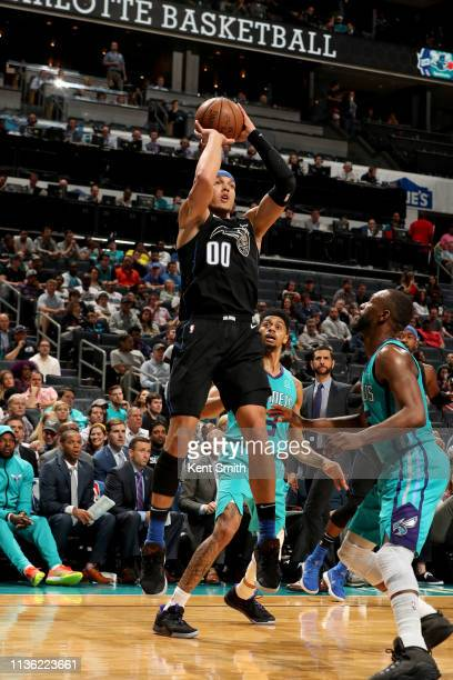 Aaron Gordon of the Orlando Magic shoots the ball during the game against the Charlotte Hornets on April 10 2019 at Spectrum Center in Charlotte...