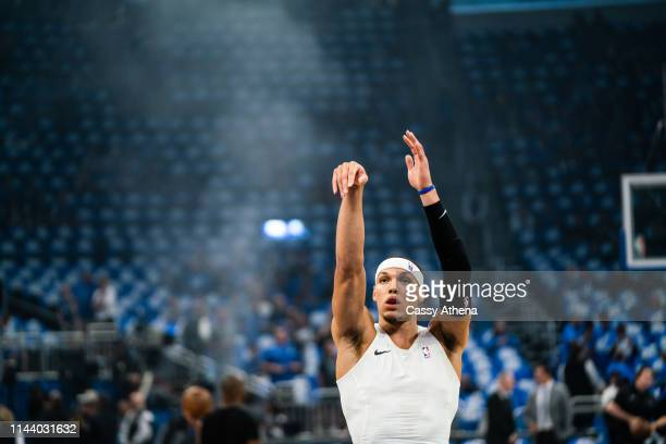Aaron Gordon of the Orlando Magic shoots the ball pre game against the Toronto Raptors at Amway Center on April 19 2019 in Orlando Florida