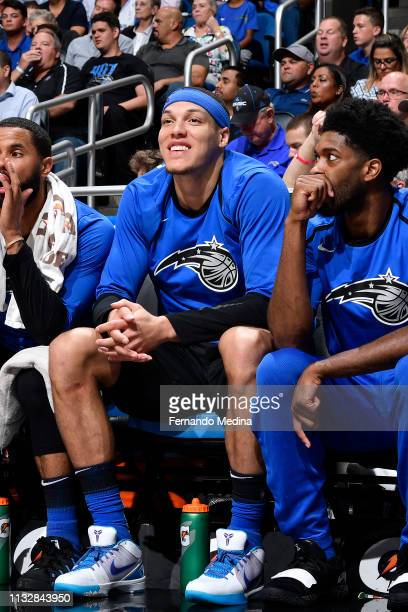 Aaron Gordon of the Orlando Magic smiles during the game against the Philadelphia 76ers on March 25 2019 at Amway Center in Orlando Florida NOTE TO...