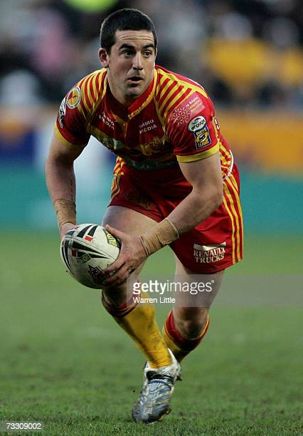 Aaron Gorrell of Catalan Dragons in action during the Engage Super League match between Hull FC and the Catalan Dragons at the KC Stadium on February...