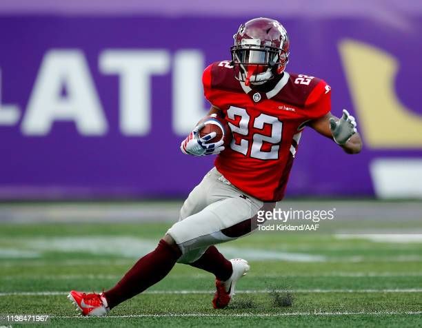 Aaron Green of the San Antonio Commanders runs the ball against the Atlanta Legends during the second half in the Alliance of American Football game...