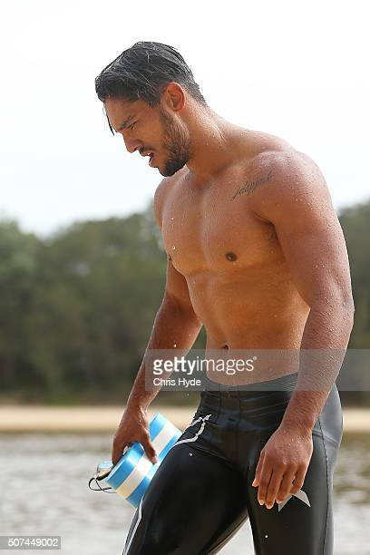 Aaron Hall during a Gold Coast Suns AFL beach training session at Palm Beach on January 30 2016 in Gold Coast Australia