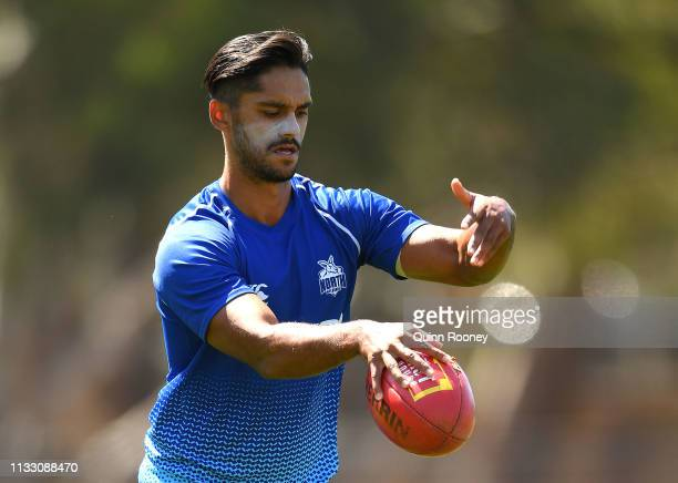 Aaron Hall of the Kangaroos warms up during the 2019 JLT Community Series AFL match between the North Melbourne Kangaroos and the St Kilda Saints at...