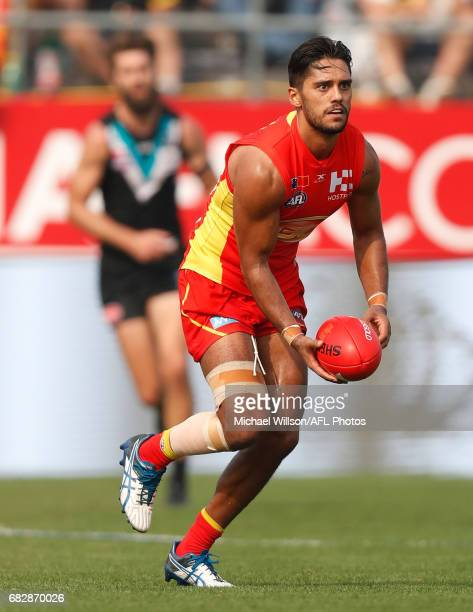 Aaron Hall of the Suns in action during the 2017 AFL round 08 match between the Gold Coast Suns and Port Adelaide Power at Jiangwan Sports Stadium on...
